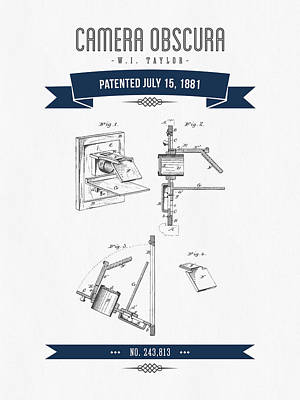 Camera Digital Art - 1881 Camera Obscura  Patent Drawing - Retro Navy Blue by Aged Pixel