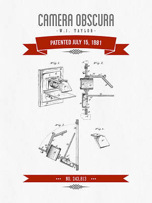 Camera Digital Art - 1881 Camera Obscura  Patent Drawing - Retro Red by Aged Pixel