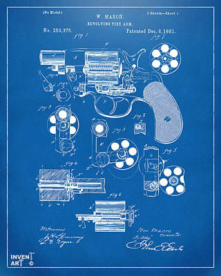Six Shooter Drawing - 1881 Colt Revolving Fire Arm Patent Artwork - Blueprint by Nikki Marie Smith