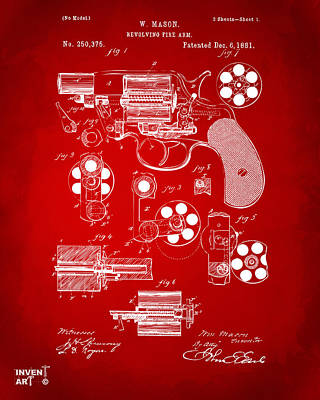 Six Shooter Drawing - 1881 Colt Revolving Fire Arm Patent Artwork Red by Nikki Marie Smith