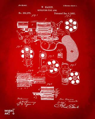 Digital Art - 1881 Colt Revolving Fire Arm Patent Artwork Red by Nikki Marie Smith