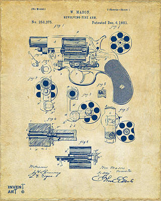Six Shooter Drawing - 1881 Colt Revolving Fire Arm Patent Artwork Vintage by Nikki Marie Smith
