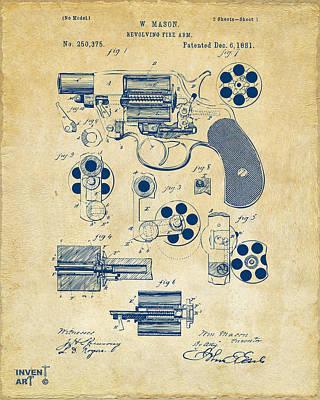 Digital Art - 1881 Colt Revolving Fire Arm Patent Artwork Vintage by Nikki Marie Smith