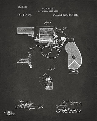 Digital Art - 1881 Mason Colt Revolving Fire Arm Patent Artwork - Gray by Nikki Marie Smith