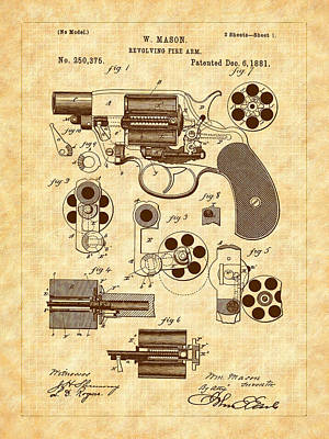 Invention Drawing - 1881 Mason Revolver Firearm Patent by Barry Jones