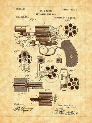 1881 Mason Revolver Firearm Patent Art Print