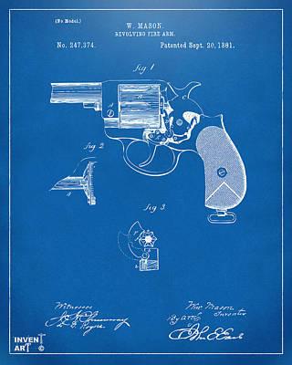 Digital Art - 1881 Mason Revolving Fire Arm Patent Artwork Blueprint by Nikki Marie Smith