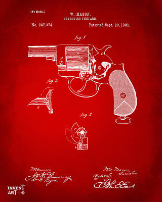 Drawing - 1881 Mason Revolving Fire Arm Patent Artwork Red by Nikki Marie Smith