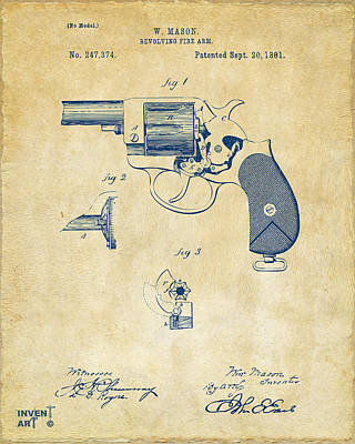Drawing - 1881 Mason Revolving Fire Arm Patent Artwork Vintage by Nikki Marie Smith