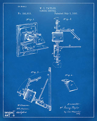 Digital Art - 1881 Taylor Camera Obscura Patent Blueprint by Nikki Marie Smith