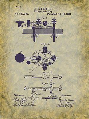 1881 Telegraph Key Patent Art Art Print