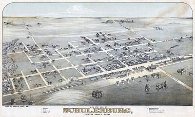 1881 Vintage Map Of Schulenburg Texas Art Print by Stephen Stookey