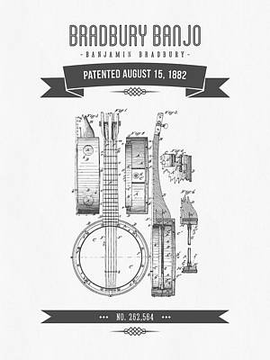 Rights Mixed Media - 1882 Bradburry Banjo Patent Drawing by Aged Pixel