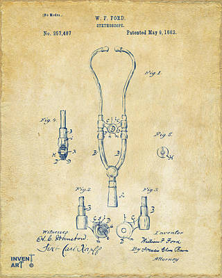 Stethoscopes Drawing - 1882 Doctor Stethoscope Patent - Vintage by Nikki Marie Smith