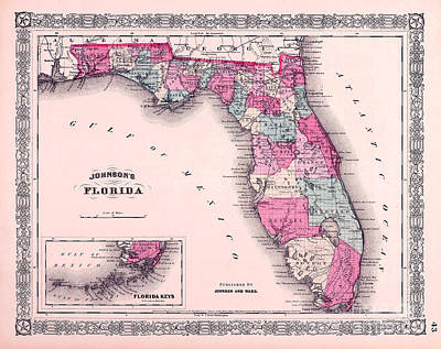 Old Keys Photograph - 1883 Florida Map  by Jon Neidert