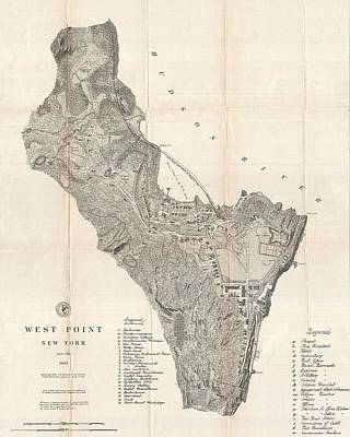 1883 West Point Map Art Print by Dan Sproul