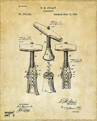 Bar Drawing - 1883 Wine Corckscrew Patent Art - Vintage Black by Nikki Marie Smith
