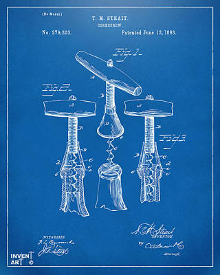 Liquor Digital Art - 1883 Wine Corckscrew Patent Artwork - Blueprint by Nikki Marie Smith