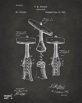 Den Digital Art - 1883 Wine Corckscrew Patent Artwork - Gray by Nikki Marie Smith