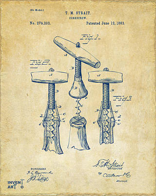 Wine Corks Digital Art - 1883 Wine Corckscrew Patent Artwork - Vintage by Nikki Marie Smith