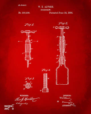 1884 Corkscrew Patent Artwork - Red Art Print by Nikki Marie Smith