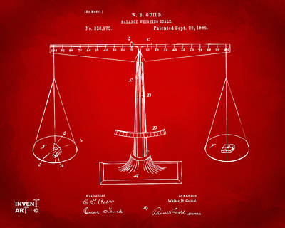 Equal Drawing - 1885 Balance Weighing Scale Patent Artwork Red by Nikki Marie Smith