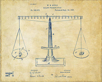 Equal Drawing - 1885 Balance Weighing Scale Patent Artwork Vintage by Nikki Marie Smith