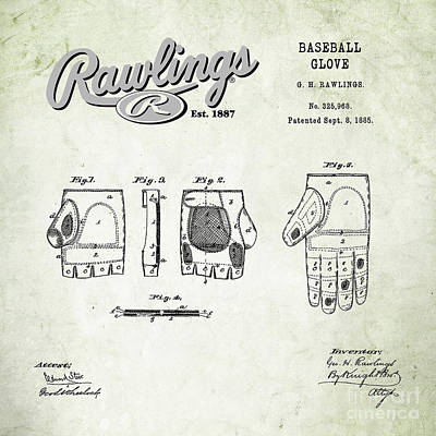 Baseball Royalty-Free and Rights-Managed Images - 1885 Baseball Glove Patent Art Rawlings 1 by Nishanth Gopinathan