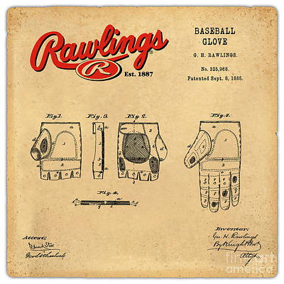 Sports Royalty-Free and Rights-Managed Images - 1885 Baseball Glove Patent Art Rawlings 2 by Nishanth Gopinathan