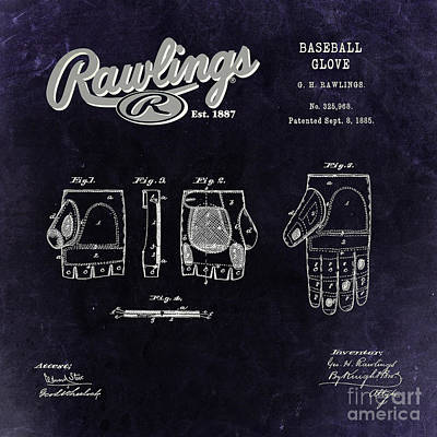 Baseball Royalty-Free and Rights-Managed Images - 1885 Baseball Glove Patent Art Rawlings 3 by Nishanth Gopinathan
