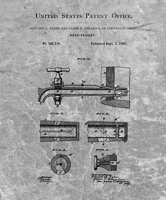 Beer Drawings - 1885 Beer Tap Patent Charcoal by Dan Sproul