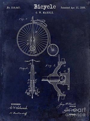 Schwinn Wall Art - Photograph - 1885 Bicycle Patent Drawing Blue by Jon Neidert