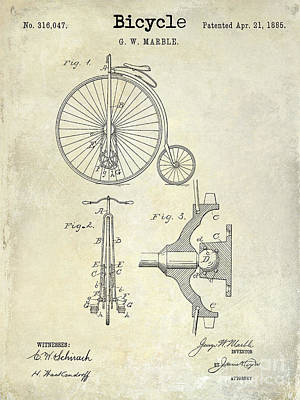 Armstrong Photograph - 1885 Bicycle Patent Drawing  by Jon Neidert