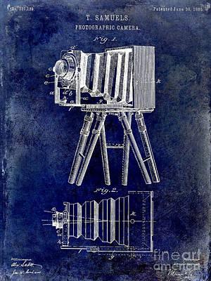 1885 Photograph - 1885 Camera Patent Drawing Blue by Jon Neidert