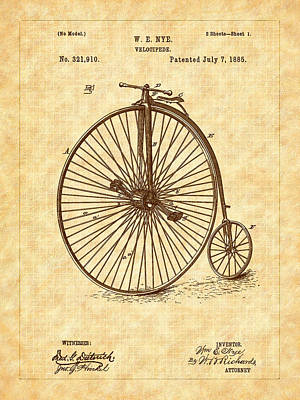 Drawing - 1885 Nye Velocipede Patent by Barry Jones