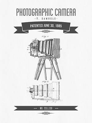 Camera Digital Art - 1885 Photographic Camera Patent Drawing - Retro Gray by Aged Pixel
