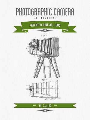 Camera Digital Art - 1885 Photographic Camera Patent Drawing - Retro Green by Aged Pixel