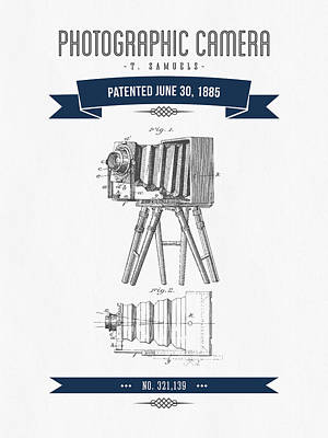 Camera Digital Art - 1885 Photographic Camera Patent Drawing - Retro Navy Blue by Aged Pixel