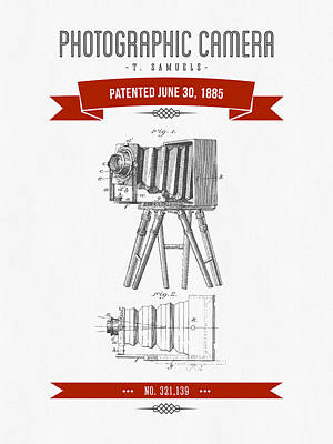 Camera Digital Art - 1885 Photographic Camera Patent Drawing - Retro Red by Aged Pixel