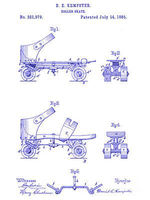 Skate Drawing - 1885 Roller Skate Patent Blueprint by Jon Neidert
