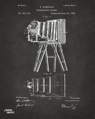 Vintage Camera Digital Art - 1885 Samuels Camera Patent Artwork - Gray by Nikki Marie Smith