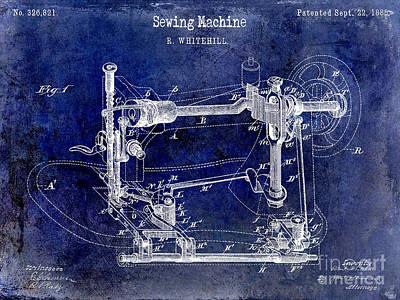 1885 Sewing Machine Patent Drawing Blue Art Print