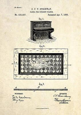 1885 Steinway Panel Patent Art Art Print