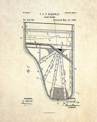 Grand Piano Drawing - 1885 Steinway Piano Frame Patent Art by Gary Bodnar