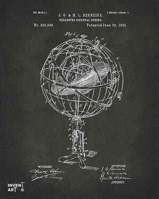 Digital Art - 1885 Terrestro Sidereal Sphere Patent Artwork - Gray by Nikki Marie Smith