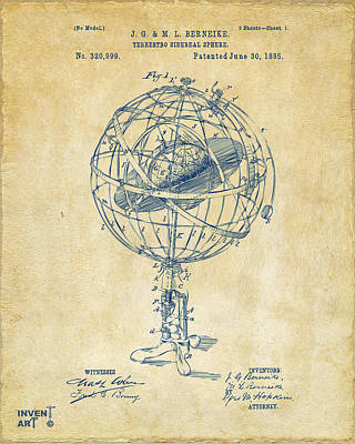 Digital Art - 1885 Terrestro Sidereal Sphere Patent Artwork - Vintage by Nikki Marie Smith