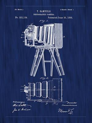 Photograph - 1885 View Camera Patent Art-blue by Barry Jones