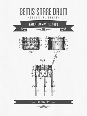 Drum Mixed Media - 1886 Bemis Snare Drum Patent Drawing by Aged Pixel