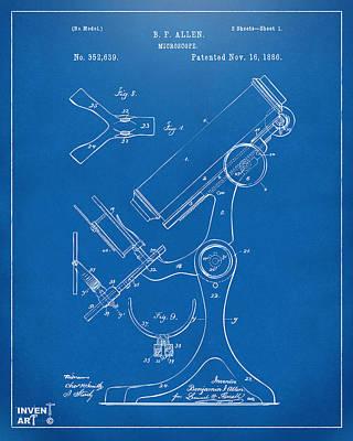 1886 Microscope Patent Artwork - Blueprint Art Print