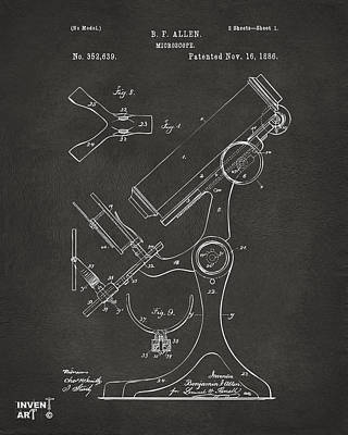 Lab Digital Art - 1886 Microscope Patent Artwork - Gray by Nikki Marie Smith